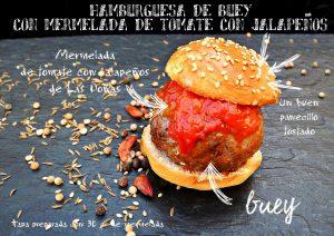 Receta de cocina: hamburguesa de Buey con mermelada de tomate con jalapeños